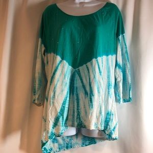 New Directions Teal Tie Dye Top Size Large
